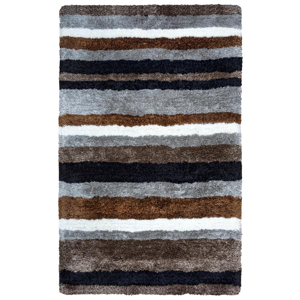 Commons Gray Polyester Shag 9 ft. x 12 ft. Area Rug