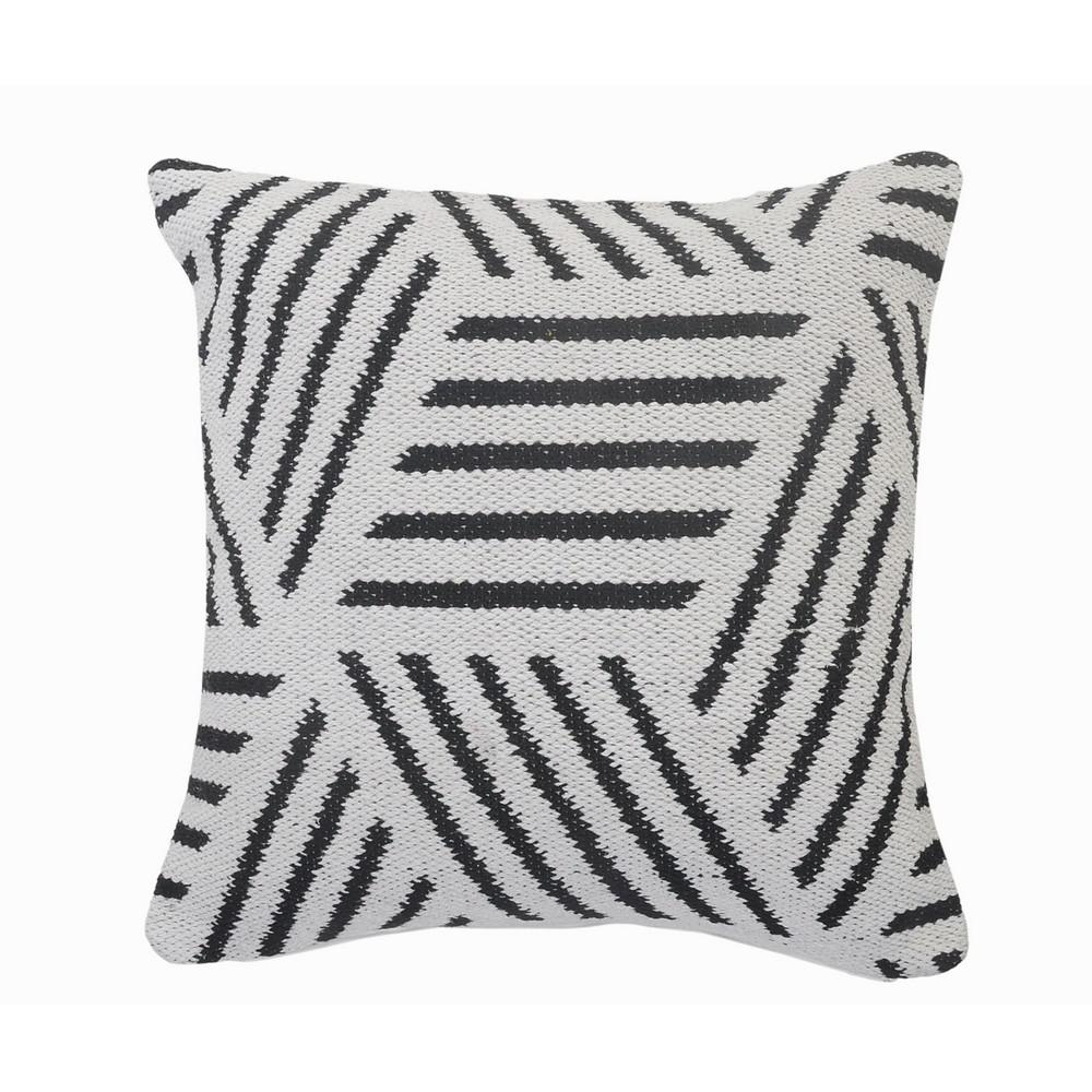 Homely Black / White Abstract Striped Soft Poly-fill 20 in. x 20 in. Throw Pillow