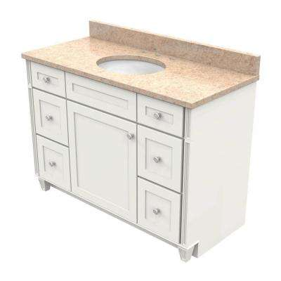 vanity in dove white with natural quartz vanity top in khaki cream and