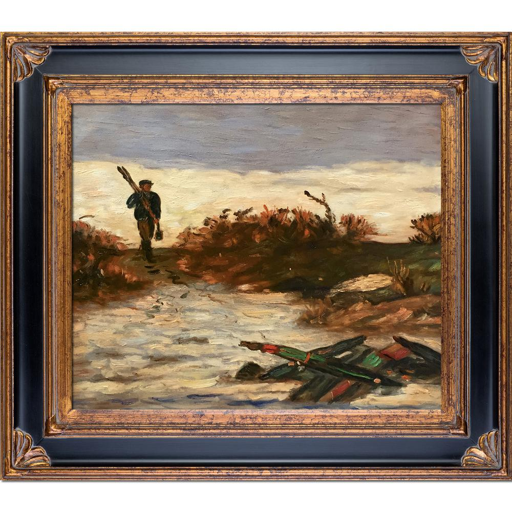 LA PASTICHE 30 in. x 34 in. Fisherman by Water with Corinthian Gold by Edward Mitchell Bannister Framed Wall Art, Multi-Colored was $680.0 now $359.73 (47.0% off)