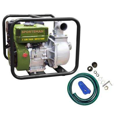 7 HP Gas-Powered Semi Trash / Water Transfer Pump with Complete Hose Kit