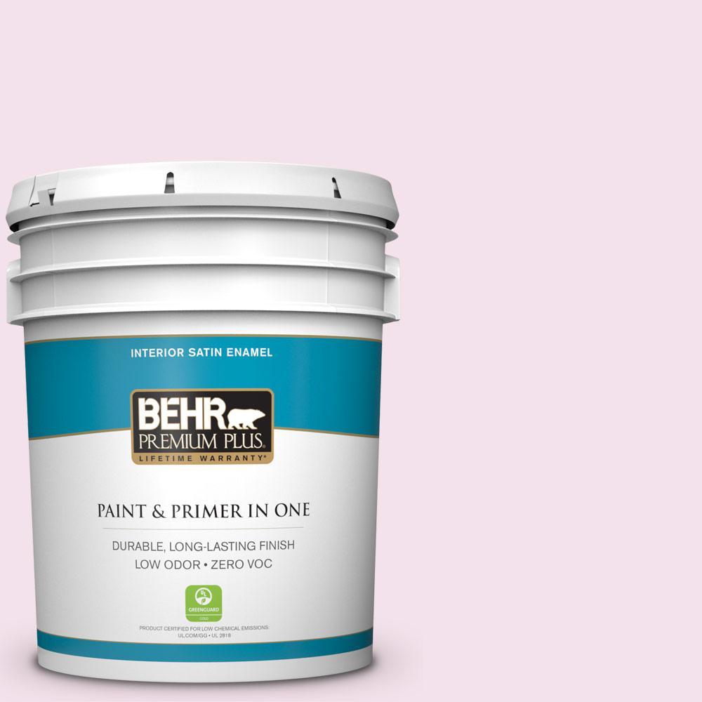 BEHR Premium Plus 5 gal. #690C-2 Pink Amour Satin Enamel Zero VOC Interior Paint and Primer in One