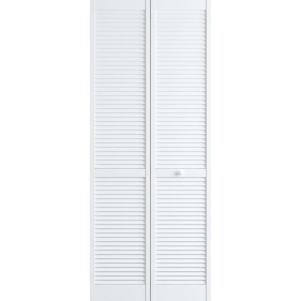 30 in. x 80 in. Louver Pine White Interior Closet Bi-fold