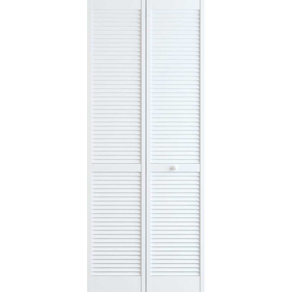 30 in. x 80 in. Louver Pine White Interior Closet Bi-fold Door
