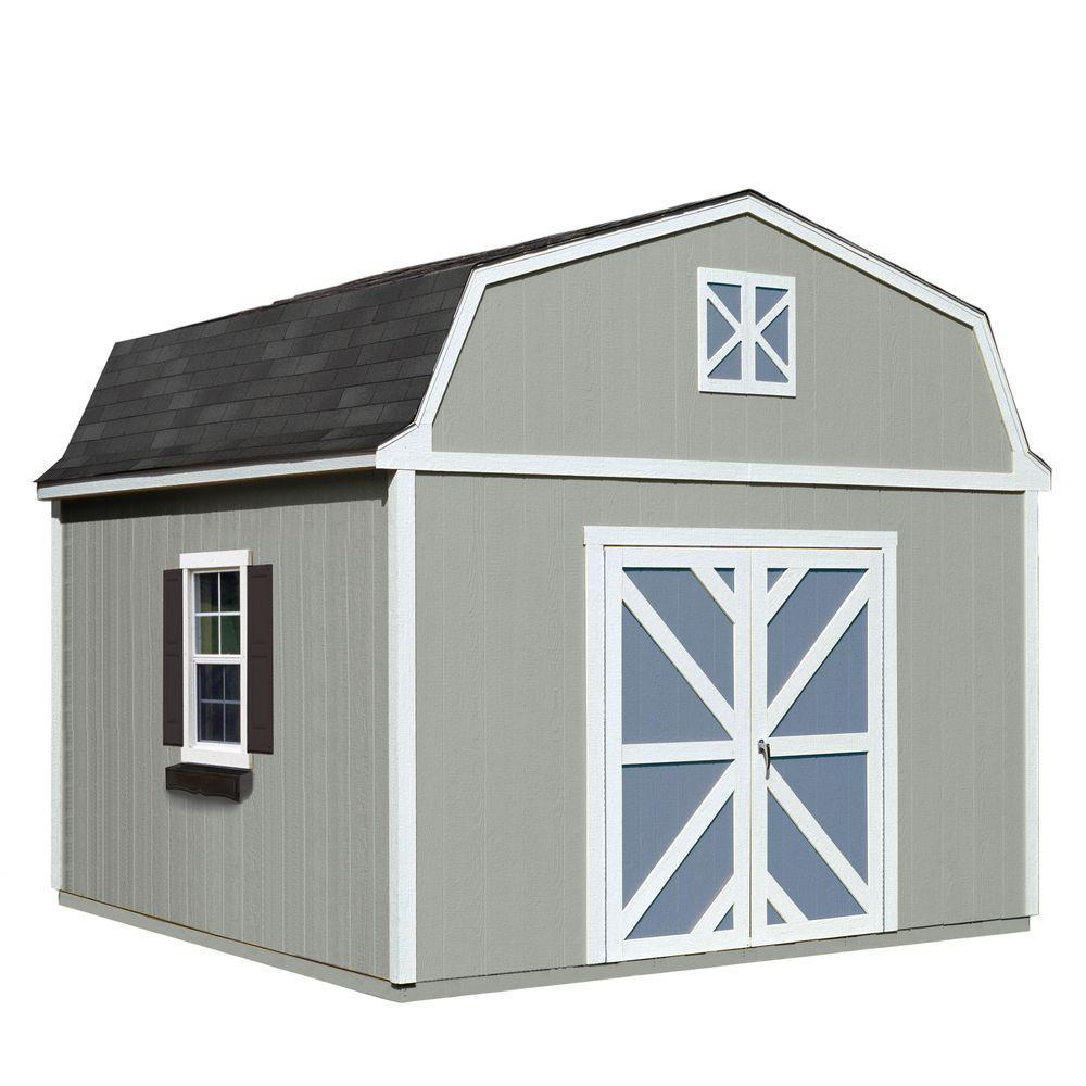 Handy Home Products Installed Sequoia 12 ft. x 12 ft. Wood Storage Shed with Black Onyx Shingles