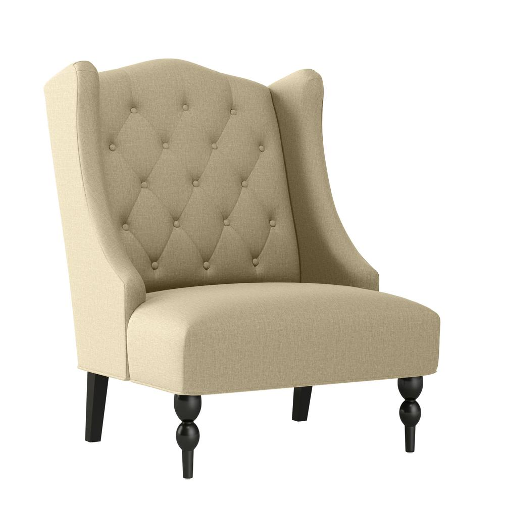 Handy Living Kobi Creamy Tan Oatmeal Textured Linen Like Fabric Button Tufted Wingback Arm Chair A159661 The Home Depot