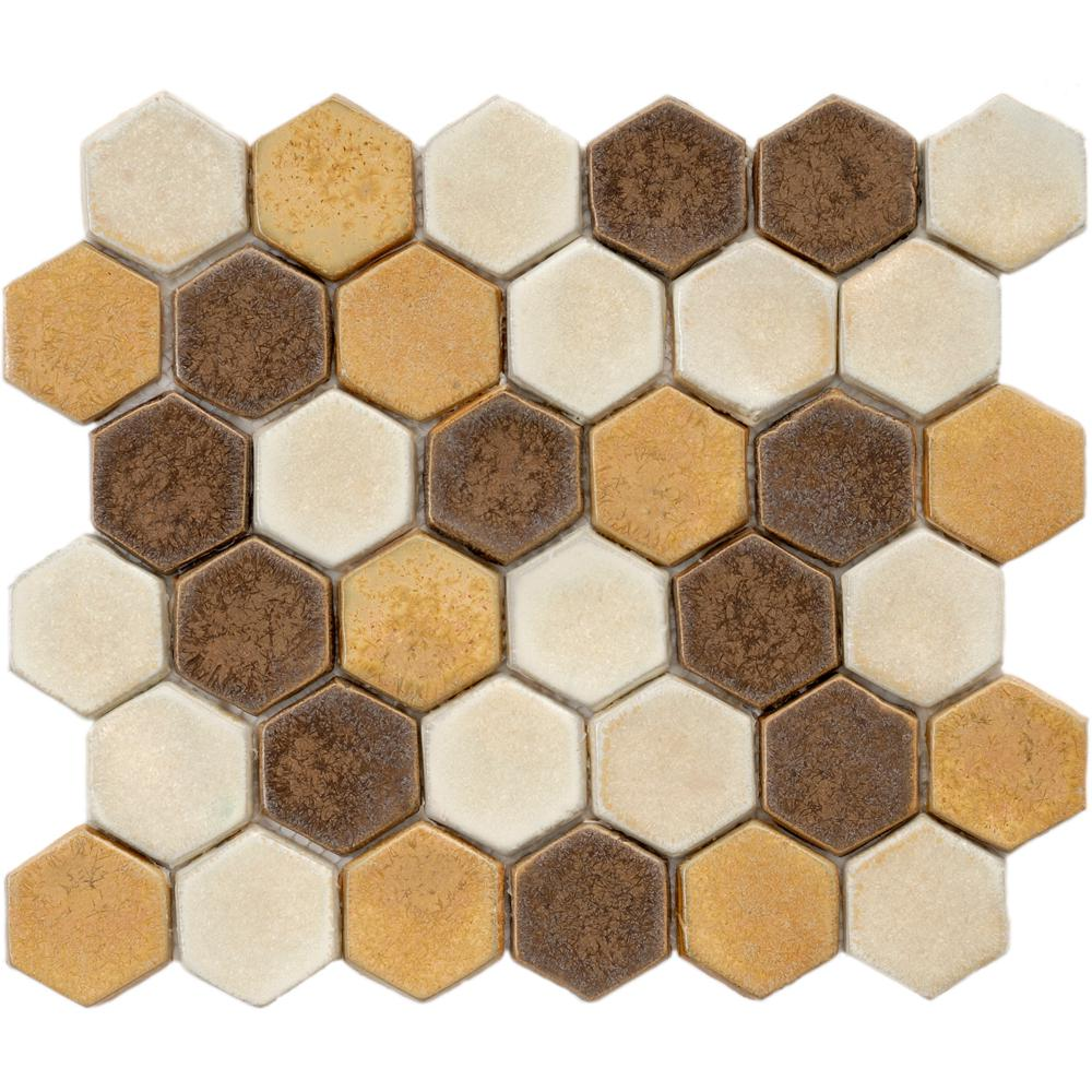 Honeycomb mosaic tile tile the home depot cobble hex tahoma 10 34 in x 12 in x 12 dailygadgetfo Image collections