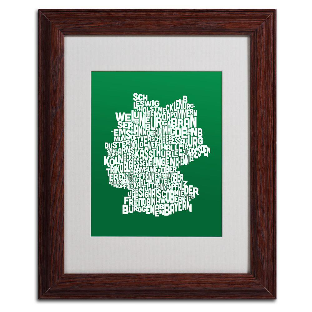 11 in. x 14 in. Germany Regions Map - Forest Matted
