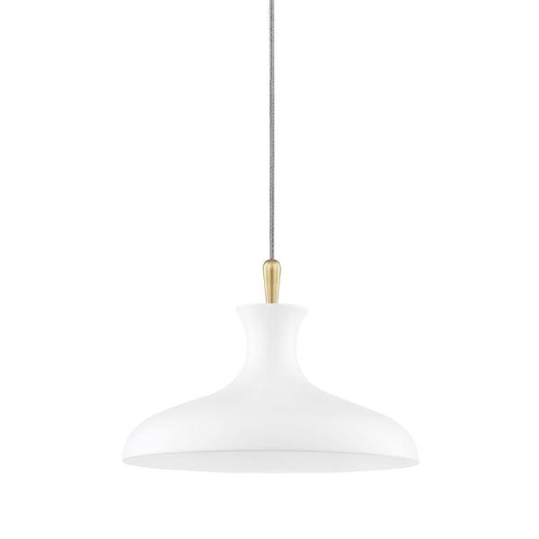 Cassidy 1-Light Aged Brass/Soft White Geometric Pendant with Metal Shade