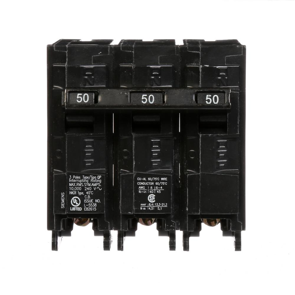 Siemens Plug In Circuit Breaker Q350 Walmartcom Wiring Diagrams 12 Volts Moreover Mga 1600 Diagram On Ignition 50 Amp 3 Pole Type Qp The Home Depot Rh Homedepot Com