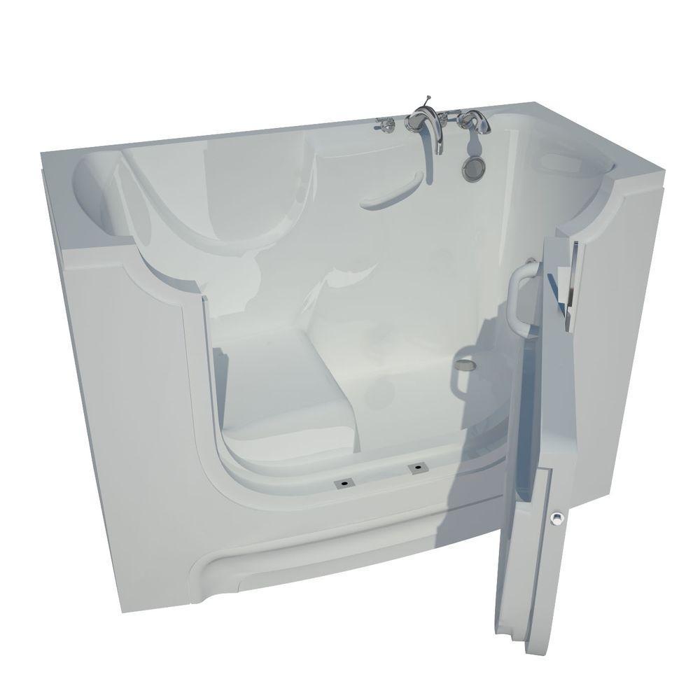 Nova Heated Wheelchair Accessible 5 ft. Walk-In Non-Whirlpool Bathtub in White with Chrome Trim