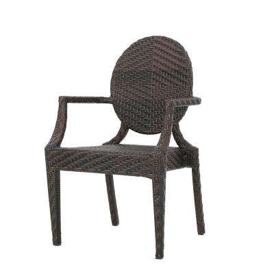 Adriana Brown Wide-legged Wicker Outdoor Dining Chair