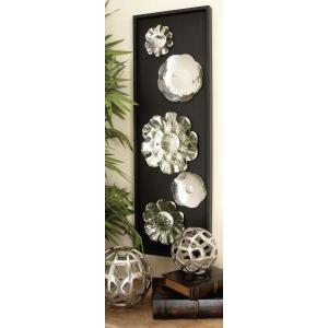 12 inch x 36 inch Modern Silver Stainless Steel Floral Platter Wall Panel by