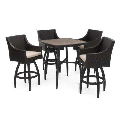 Deco 5-Piece Wicker Square Outdoor Bar Height Dining Set with Slate Grey Cushions