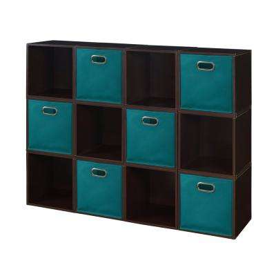Cubo 39 in. H x 52 in. W Truffle/Teal 12-Cube and 6-Bin Organizer