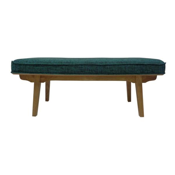 Noble House Reagan Mid-Century Modern Teal Fabric Bench with Rubberwood Legs