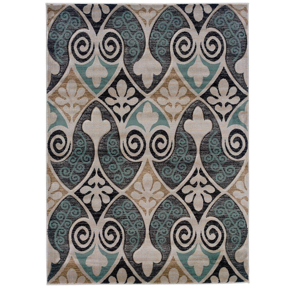 Linon Home Decor Milan Collection Black and Turquoise 8 ft. x 10 ft. 3 in. Indoor Area Rug