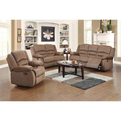 Ellis Contemporary Microfiber 3-Piece Living Room Set, Light Brown