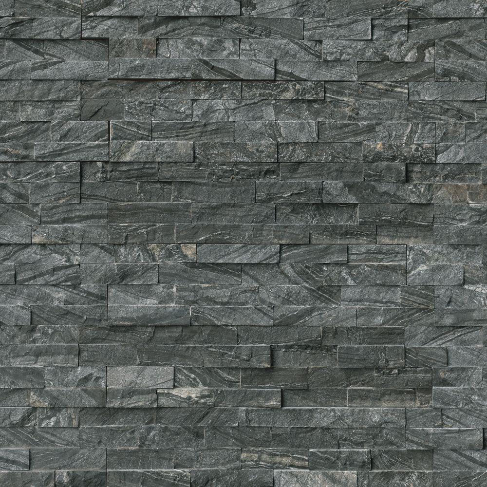MSI Glacial Black Ledger Panel 6 in. x 24 in. Natural Marble Wall Tile (10 cases / 60 sq. ft. / pallet)