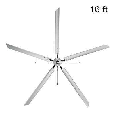 Titan 16 ft. 220-Volt Indoor Anodized Aluminum Single Phase Commercial Ceiling Fan