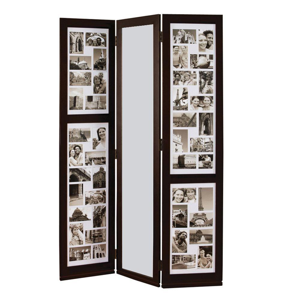 Preston 5.4 ft. Espresso 3-Panel Room Divider
