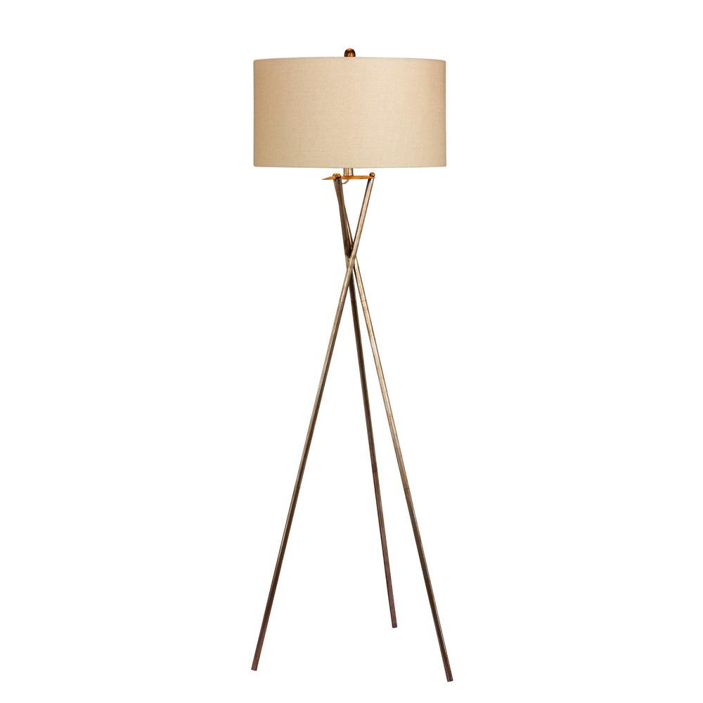 Fangio lighting 63 5 in industrial tripod metal floor lamp in a rusted silver