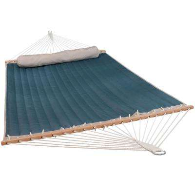 10-1/2 ft. Quilted Double 2-Person Hammock with Spreader Bars and Pillow in Tidal Wave