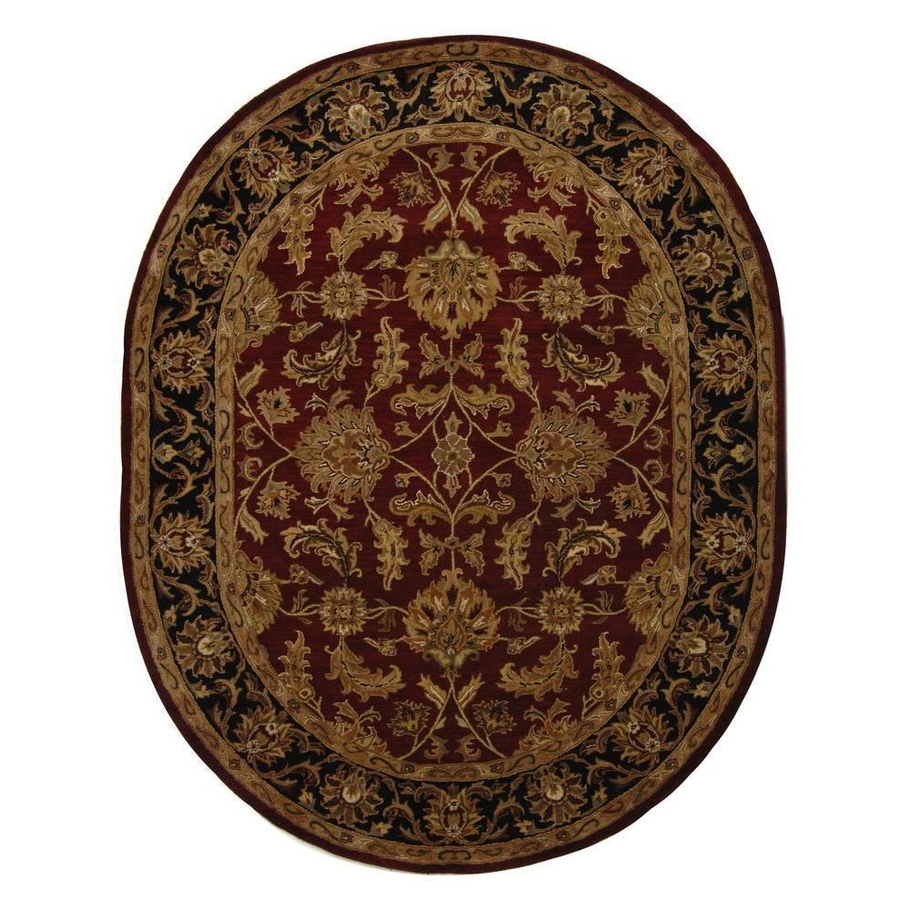 Safavieh Heritage Red/Black 5 Ft. X 8 Ft. Oval Area Rug