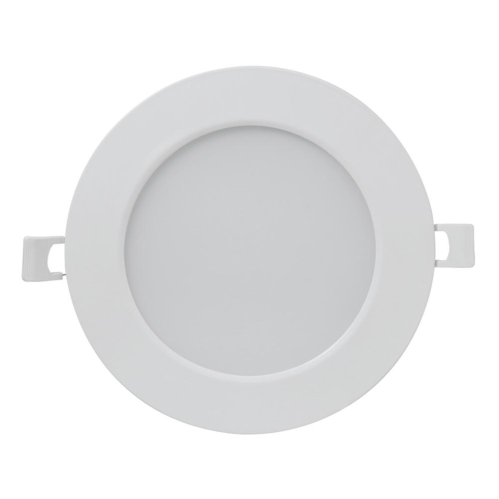 FeitElectric Feit Electric 6 in. 65-Watt Equivalent 3000K (Warm White) White Round Flat Panel J-Box Integrated LED Recessed Trim Downlight