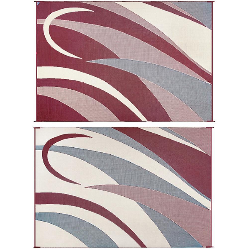 8 ft. x 16 ft. Graphic Burgundy/Beige Reversible Mat