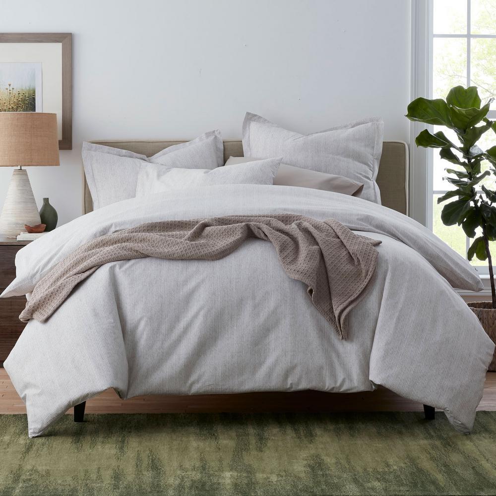 Larkin Stripe Organic Cotton Percale Duvet Cover