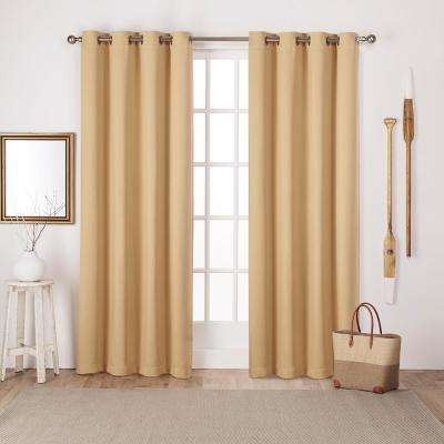 Sateen 52 in. W x 96 in. L Woven Blackout Grommet Top Curtain Panel in Sundress Yellow (2 Panels)