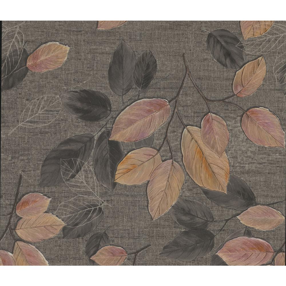 Dorado Black Leaf Toss Wallpaper Sample