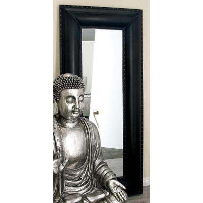 69 in. x 30 in. New Traditional Leather Framed Wall Mirror