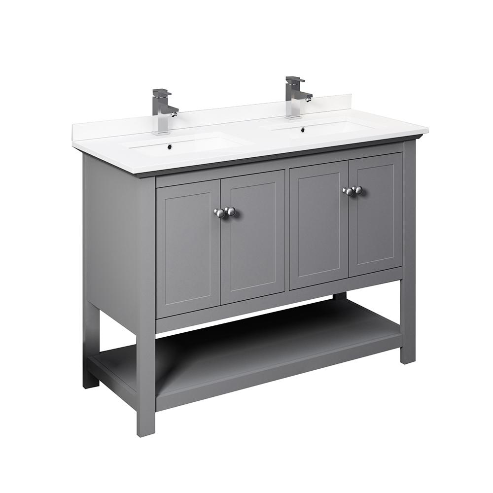 Fresca Manchester 48 In W Bathroom Double Bowl Vanity In Gray With Quartz Stone Vanity Top In White With White Basins Fcb2348gr D Cwh U The Home Depot