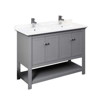 Manchester 48 in. W Bathroom Double Bowl Vanity in Gray with Ceramic Vanity Top in White with White Basins