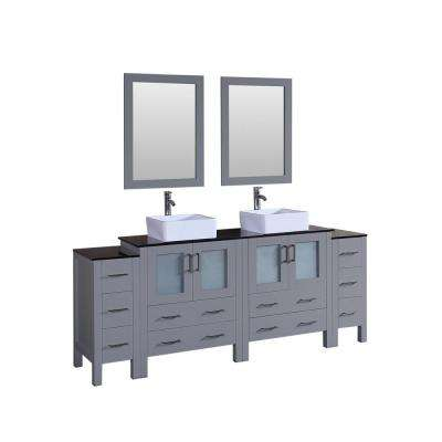 84 in. Double Vanity in Gray with Tempered Glass Vanity Top in Black with White Basin Polished Chrome Faucet and Mirror