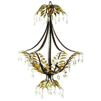 New Plantation Collection 3-Light Maple with Oxido Highlight Hanging Chandelier with Faceted Crystals