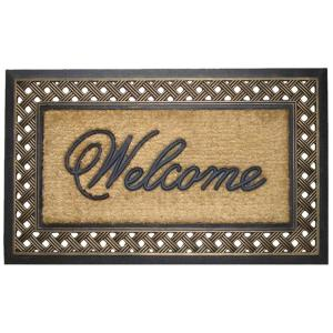 A1HC First Impression Brush Large 23 inch x 38 inch Rubber and Coir Door Mat by