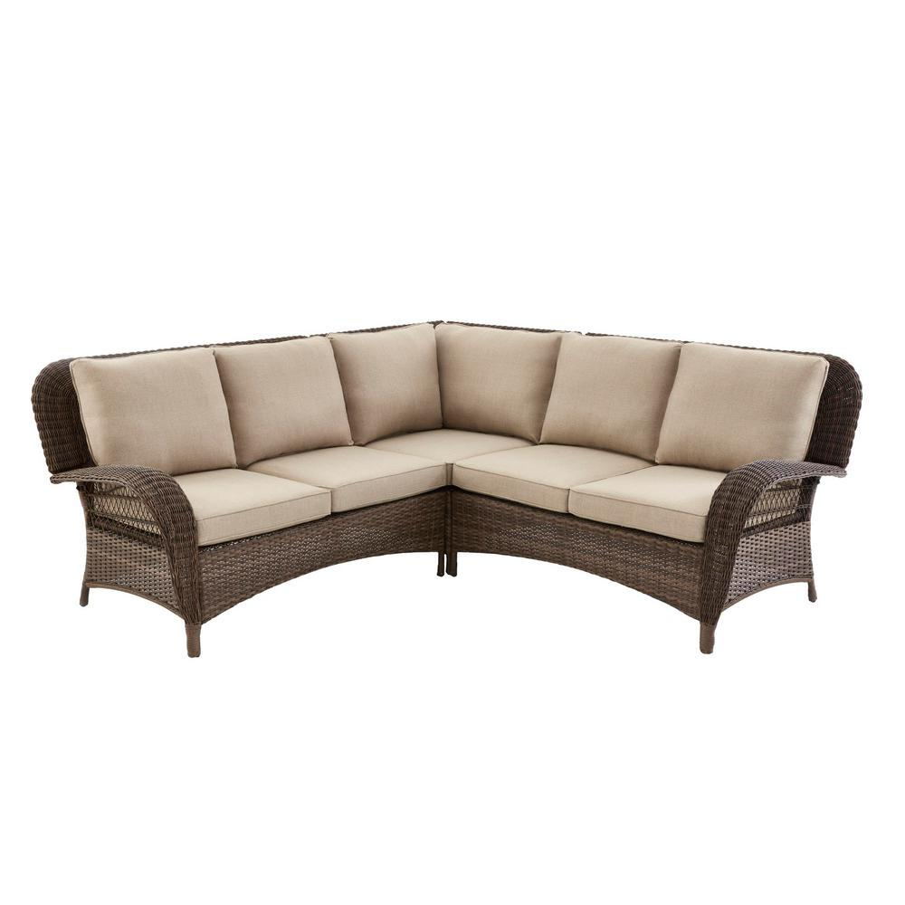 Fantastic Hampton Bay Beacon Park 3 Piece Brown Wicker Outdoor Patio Sectional Sofa With Standard Toffee Trellis Tan Cushions Andrewgaddart Wooden Chair Designs For Living Room Andrewgaddartcom