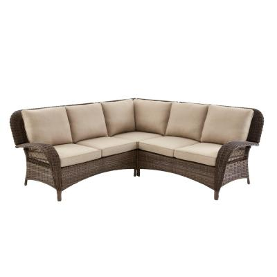 Beacon Park 3-Piece Brown Wicker Outdoor Patio Sectional Sofa with Standard Toffee Trellis Tan Cushions