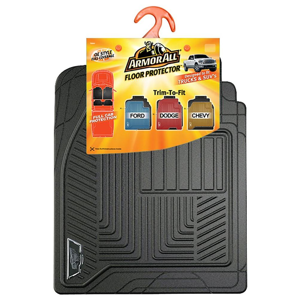 Armor All Black Full Coverage Rubber Truck Floor Mat 78990