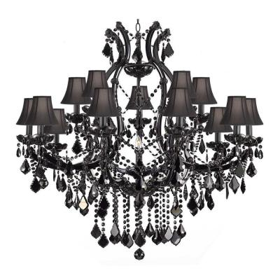 Maria Theresa 16-Light Black Crystal Chandelier with Black Shades