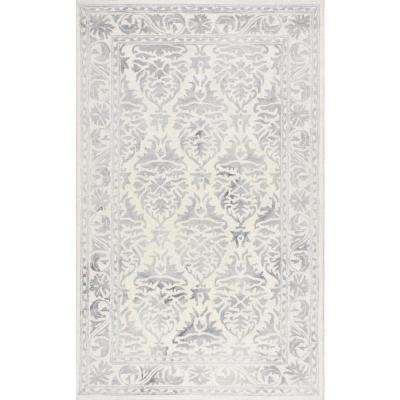 Krause Faded Floral Gray 3 ft. x 5 ft.  Area Rug