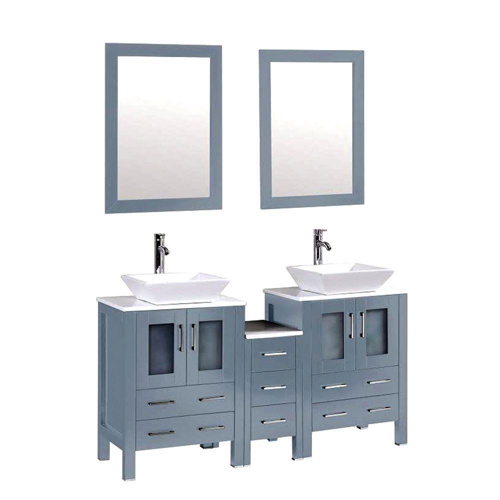 Kokols Double Vanity Blue Grey Marble Vanity Top White Basin Mirror