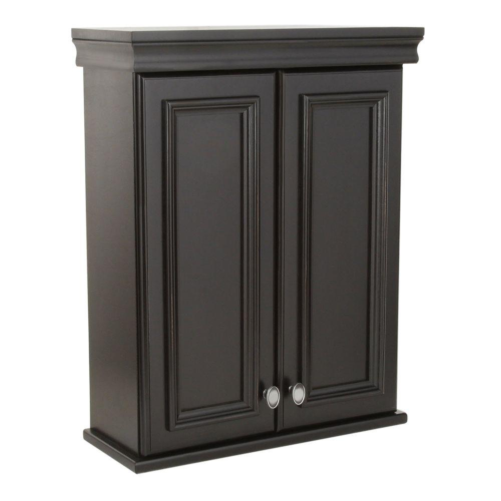 St. Paul Valencia 22 in. W x 28 in. H x 9-7/50 in. D Over the Toilet Bathroom Storage Wall Cabinet in Antique Black