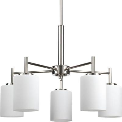 Replay 5-Light Polished Nickel Chandelier with Etched White Glass