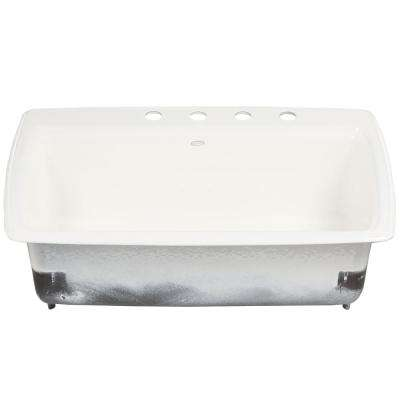 Cape Dory Drop-in Cast Iron 33 in. 4-Hole Single Bowl Kitchen Sink in White