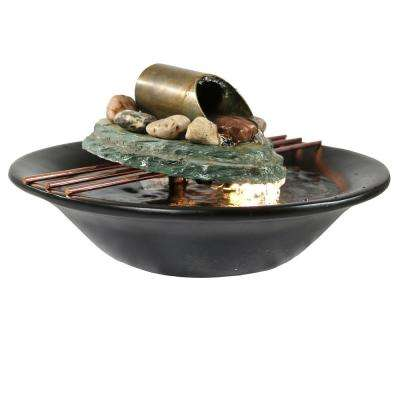 7 in. Soothing Balance Slate Tabletop Fountain with LED Light