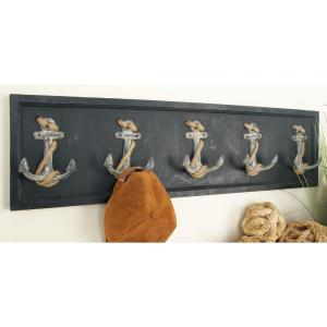 36 inch x 10 inch Nautical Anchor and Twine Wall Hook Rack
